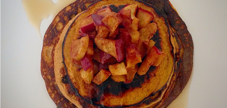 "Sweet Potato Pancake Topped With ""Baked"" Maple Cinnamon Apple"