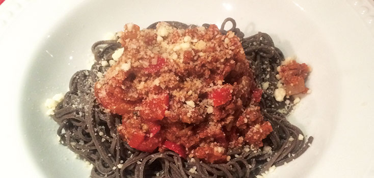 Black Bean Spaghetti with Bolognese